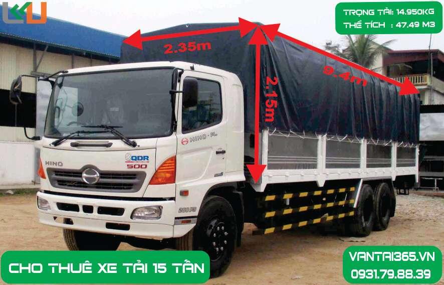 Xe Tải 15 tấn thùng bạt cho thuê giá rẻ